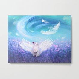 Under His Wings - Blue Metal Print
