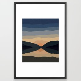 Sunset Mountain Reflection in Water Framed Art Print