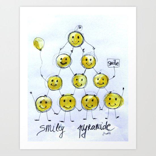 Smiley Pyramide Art Print