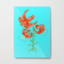 Tiger Lilies (Light Blue Background) Metal Print