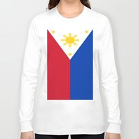 philippines Long Sleeve T-shirts featuring Flag of the Philippines by Neville Hawkins