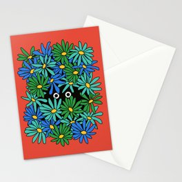 Shy Wallflower - retro botanical, anxiety, awkward, red, blue, green, flowers, daisies, 60s, 7 Stationery Cards