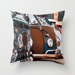 On adventure with the roadtrip bus Throw Pillow