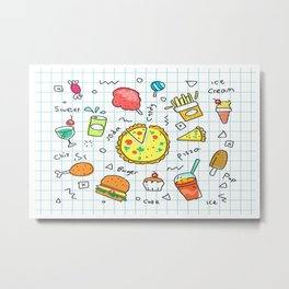 colorful doodle soda cartoon set Metal Print