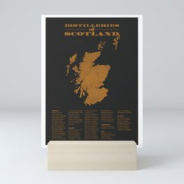 Distilleries of Scotland (woodpress) Mini Art Print