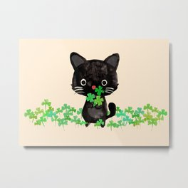 The Luckiest Cat Metal Print