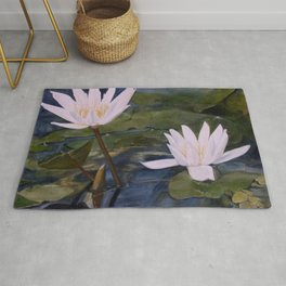 Watercolor Flower Water Lily Landscape Nature Rug