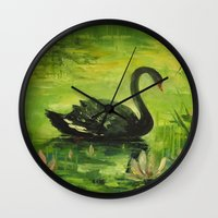 black swan Wall Clocks featuring Black Swan by OLHADARCHUK