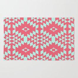 aztec Inspired Pattern Teal & Pink Rug