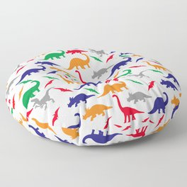 Colorful Dinos in Green, Grey, Red, Blue Yellow Floor Pillow