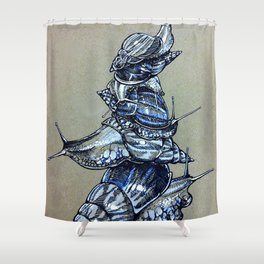 Snail Stack Shower Curtain