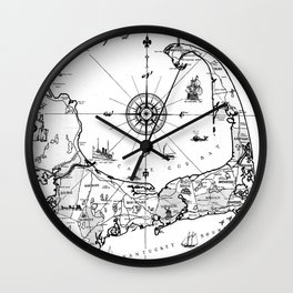Vintage Map of Cape Cod BW Wall Clock