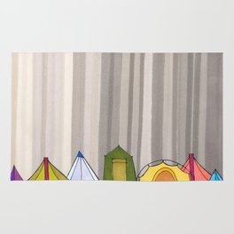 Stripes and Colorful Camping Tents 98 Rug