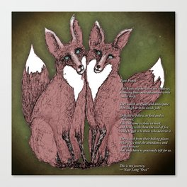 Two Foxes - B Canvas Print