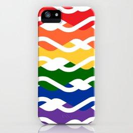 LGBT Rainbow Waves Flat Design White iPhone Case