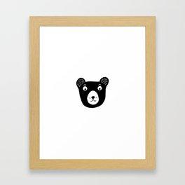 Cute black and white bear illustration Framed Art Print