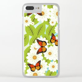 Daisies and butterflies Clear iPhone Case
