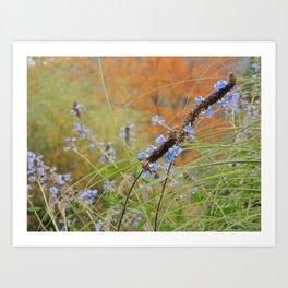 Autumn landscape with blue flowers Art Print