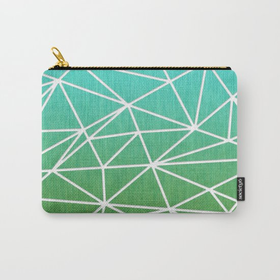 Abstract geometric   green & turquoise Carry-All Pouch
