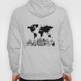 world map city skyline 4 Hoody
