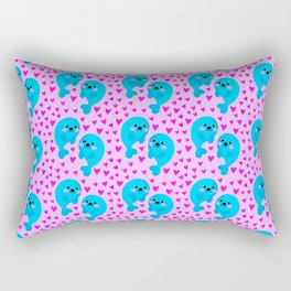 Blue cute sweet baby seals in the sea of pink hearts marine animal pattern. Nursery pattern. Rectangular Pillow
