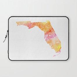 Typographic Florida - orange watercolor Laptop Sleeve