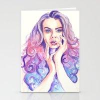 cara delevingne Stationery Cards featuring Cara Delevingne by Binkfloyd