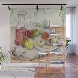 Still life of fruit and wine - Painting Wall Mural
