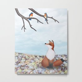 fox and eastern bluebirds Metal Print