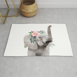 Baby Elephant with Flower Crown Rug