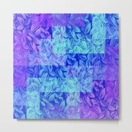 colorful pastel blue geometrical shapes pattern print with painted leaves design Metal Print