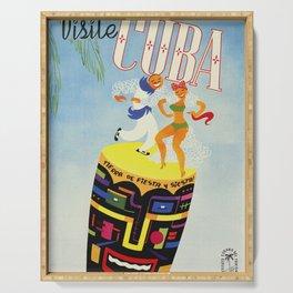 Visit Cuba - Vintage Caribbean Travel Poster Serving Tray