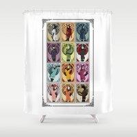 nouveau Shower Curtains featuring Heroines (Nouveau) by Andrew Formosa