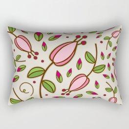 Doodle Floral Pattern Pink Rectangular Pillow
