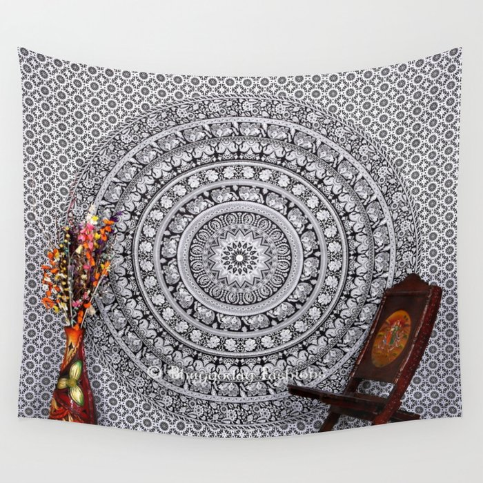 Black And White Hippie Elephant Tapestry Wall Hanging Wall