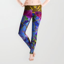 Nut Brown  Pink-Purple-Blue Morning Glory Abstract Leggings