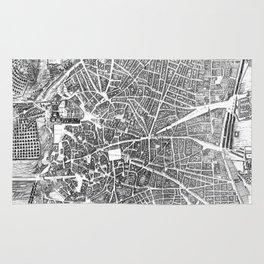 Vintage Map of Madrid Spain (1656) BW Rug