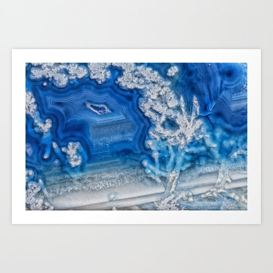 Blue whte agate crystal Art Print