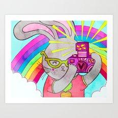 Bunny Rainbow Snapshots Art Print