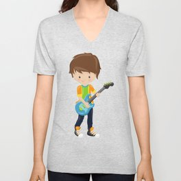 Rock Boy, Brown Hair, Boy Playing Guitar In Band Unisex V-Neck
