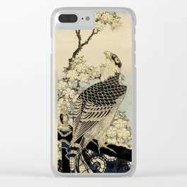 Hokusai -falcon next to a plum tree in bloom - 葛飾 北斎,hawk,bird. Clear iPhone Case