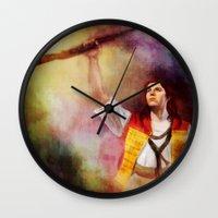 les mis Wall Clocks featuring  Les Misérables Enjolras Genderbend by Kjerstin A