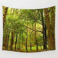 spiritual Wall Tapestries featuring Spiritual Forest  by Gypsy Angel Studio