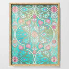 Floral Moroccan in Spring Pastels - Aqua, Pink, Mint & Peach Serving Tray