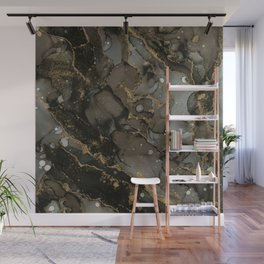 Midnight Gold - Abstract Ink Painting Wall Mural
