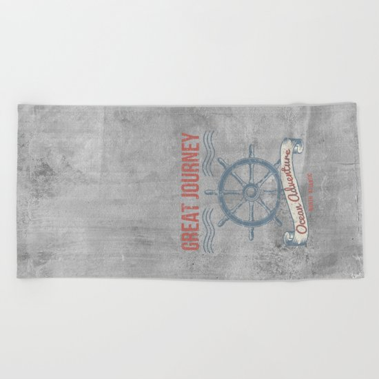 Maritime Design- Great Journey Ocean Adventure on grey abstract background #Society6 Beach Towel