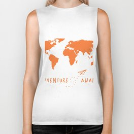Adventure Map - Retro Orange on White Biker Tank