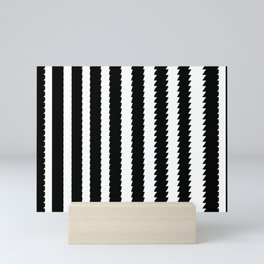 Black and White Vertical Sawtooth Pattern Mini Art Print
