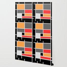 Mondrianista orange red black and gray Wallpaper