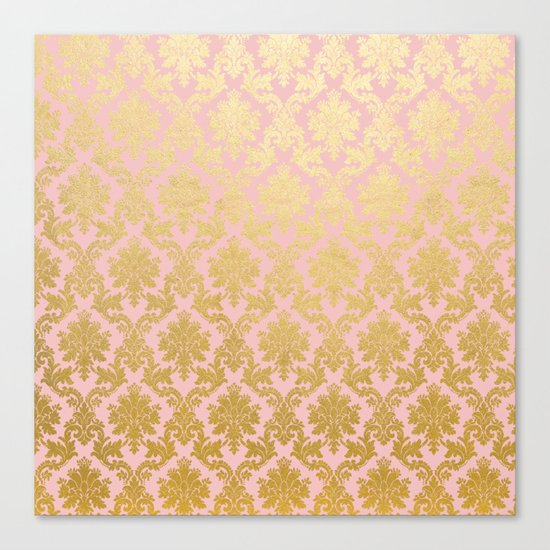 Princess like - Luxury pink gold ornamental damask pattern Canvas Print